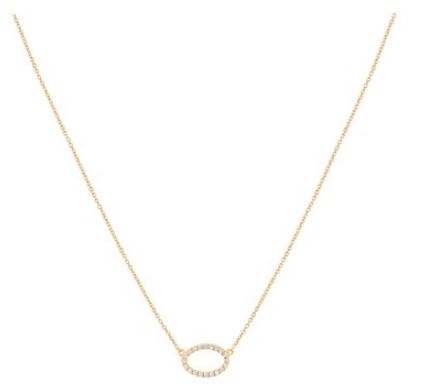 Argento Gold Crystal Oval Necklace