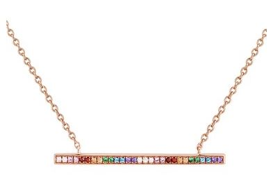 Argento Rose Gold Rainbow Bar Necklace Layered