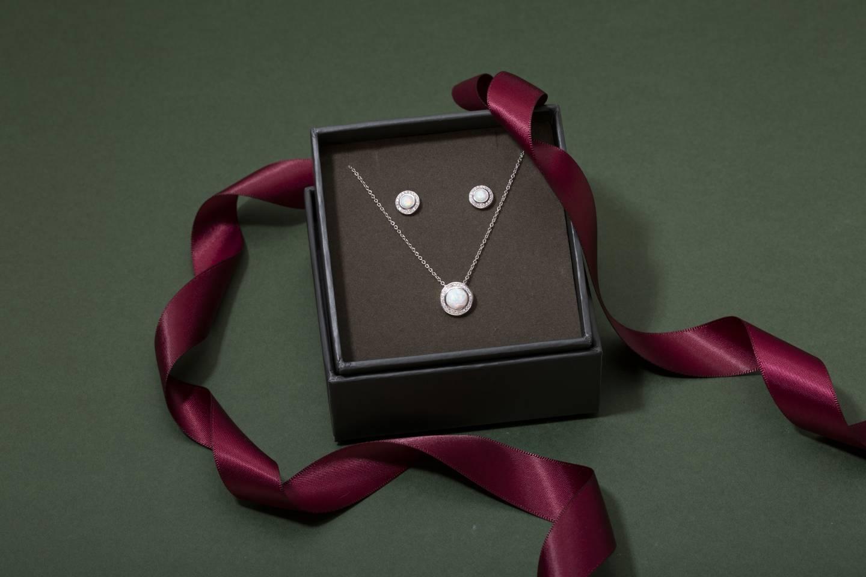 Argento Silver Opal Halo Set Christmas Mum Jewellery Gift