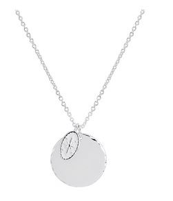Argento Silver Star Compass Coin Necklace Layered