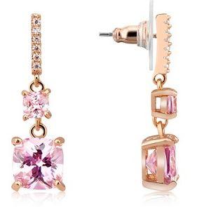 August Woods Pink CZ Drop Earrings