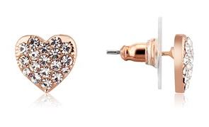 August Woods Rose Gold Crystal Heart Stud
