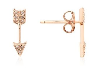Dirty Ruby Arrow Bow Earrings Rose Gold Argento Layered