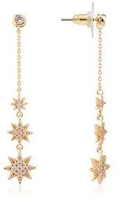 Dirty Ruby Gold Crystal Long Earring Star