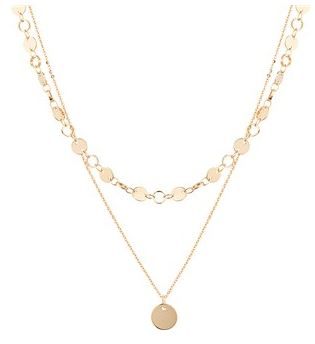 Dirty Ruby Gold Dimple Circle Necklace