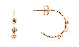 Dirty Ruby Rose Gold CZ Hoop Earrings Layered