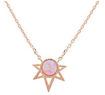 Karma Rose Gold Pink Opal Necklace Argento Layer