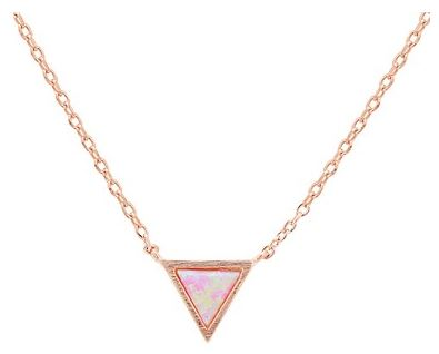 Karma Rose Gold Pink Opal Tri Necklace Argento Layered