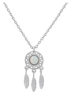 Karma Silver White Dreamcatcher Necklace Opal Argento Layered