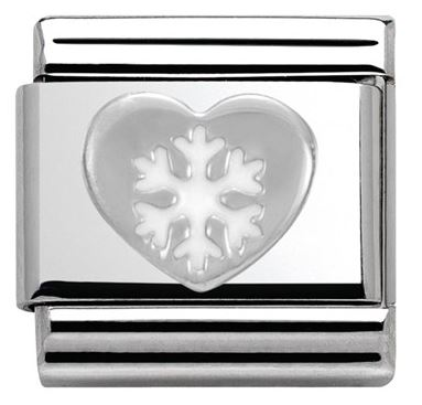 Nomination Heart Snowflake Christmas Charm Argento
