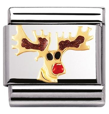 Nomination Reindeer Christmas Charm Argento