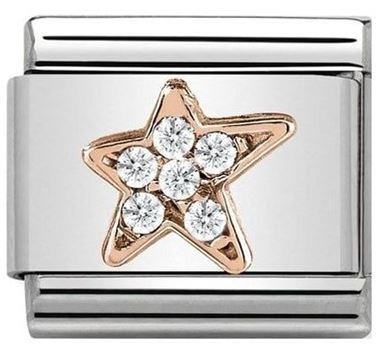 Nomination Rose Gold Star Christmas Charm Argento