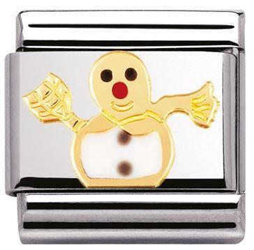 Nomination Snowman Christmas Charm Gold Argento