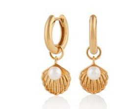 Olivia Burton gold shell Huggie Earrings