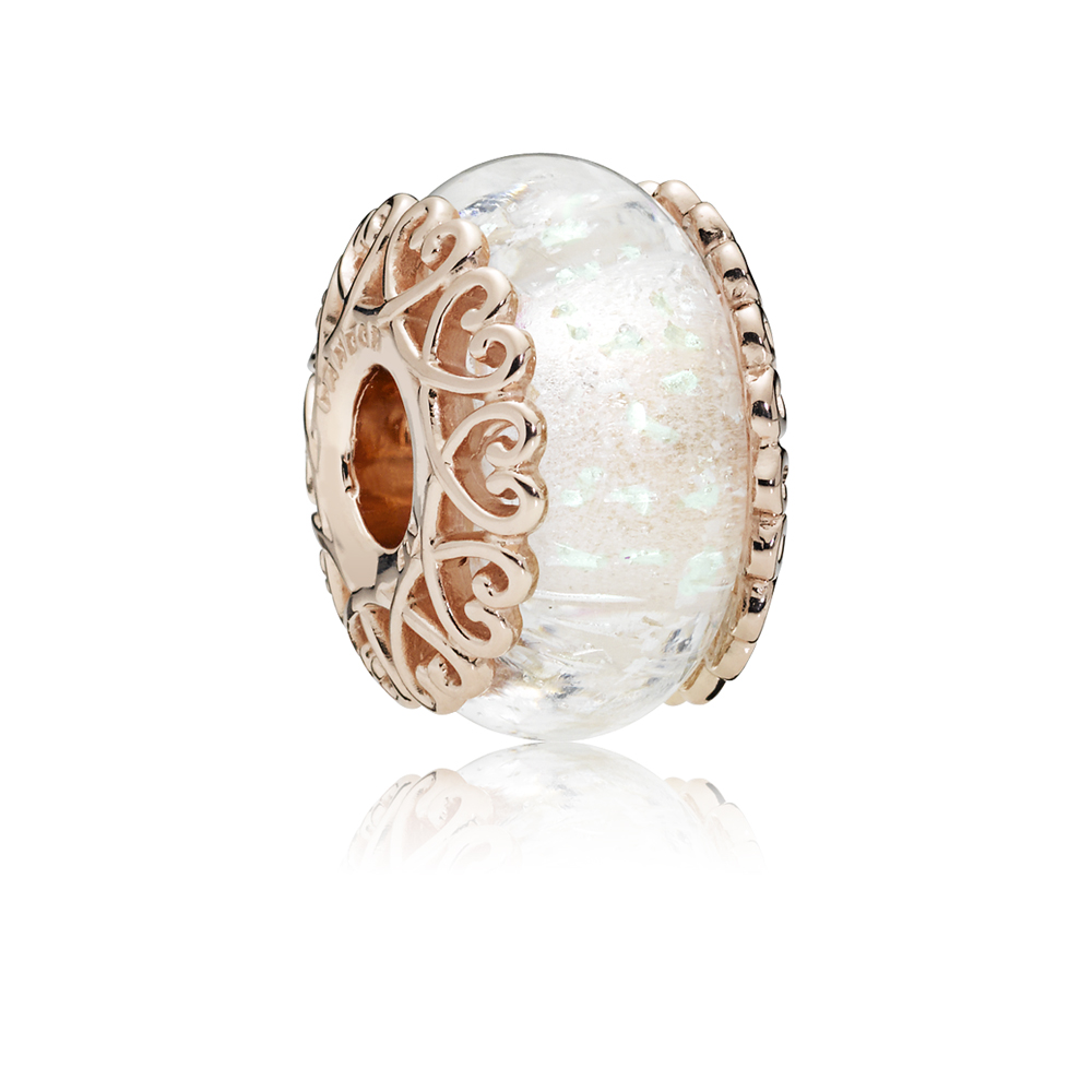 Pandora Irridescent Murano Glass Rose Charm Argento