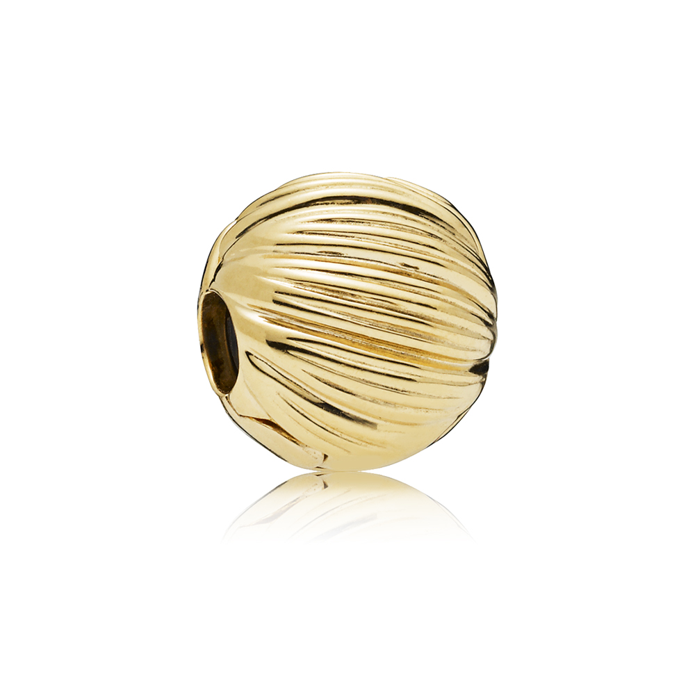 PANDORA golden Grain Clip Charm Textured Argento