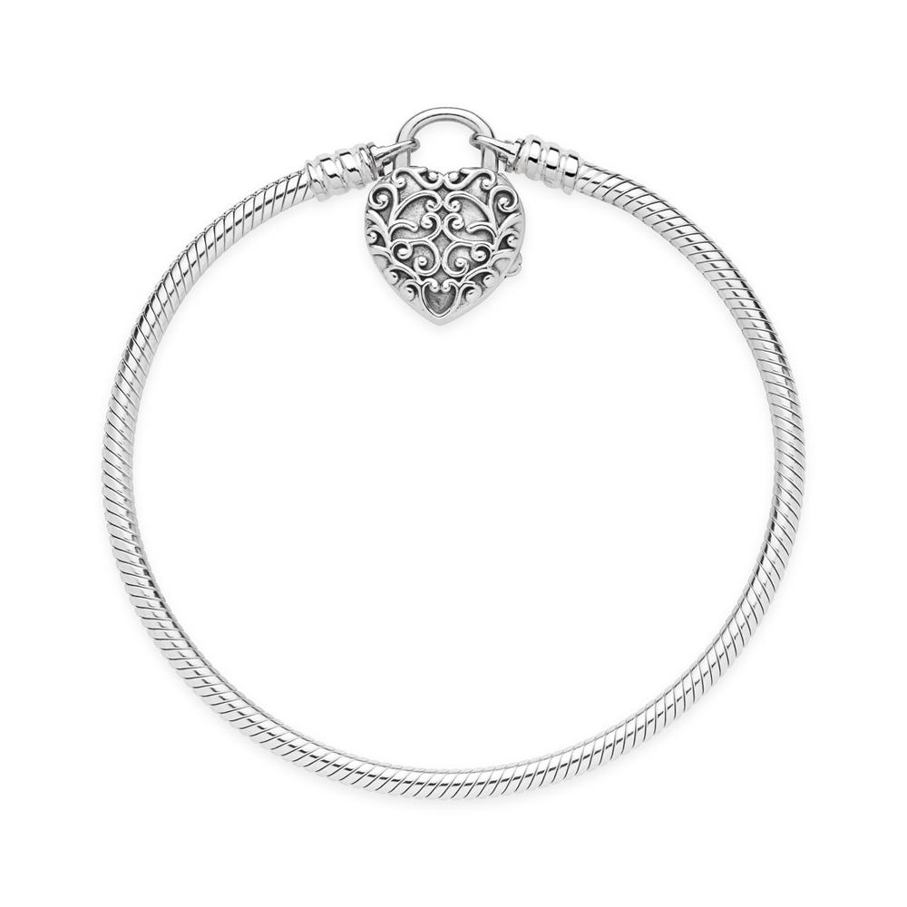 Pandora Silver Love Lock Bracelet Heart Argento
