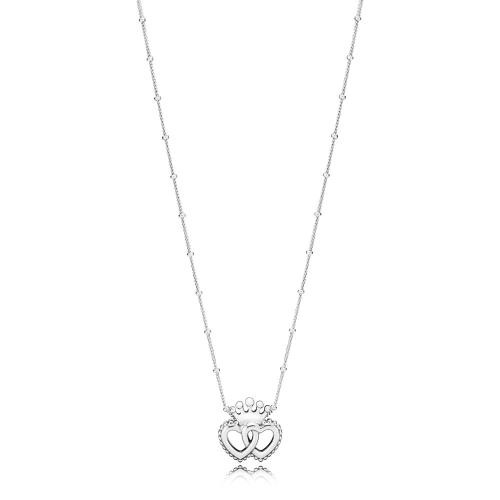 Pandora Silver United Hearts Necklace Argento