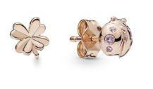 Pandora Ladybird Rose Clover Earrings