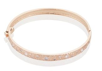 August Woods Rose Gold Star Sparkle Bangle Argento Christmas