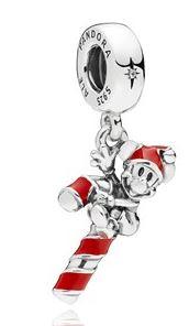 PANDORA Mickey Candy Cane Christmas Charm