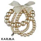 Karma Cream Pearl Bracelets With Ribbon