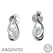 Argento Cubic Zirconia Loop Earrings