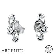 Argento Cubic Zirconia Ribbon Earrings
