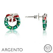 Argento Christmas Wreath Studs