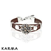 Karma Flower Leather Bracelet