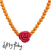 Dirty Ruby Chunky Fuchsia Floral Frenzy Rose Necklace