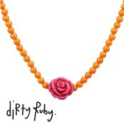 Dirty Ruby Fuchsia Floral Frenzy Rose Necklace