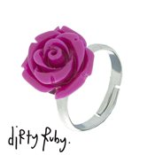 Dirty Ruby Fuchsia Floral Frenzy Rose Ring