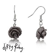 Dirty Ruby Grey Floral Frenzy Rose Drop Earrings