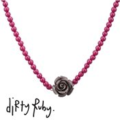 Dirty Ruby Grey Floral Frenzy Rose Necklace
