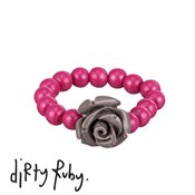 Dirty Ruby Grey Floral Frenzy Rose Ring