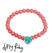 Dirty Ruby Mint Floral Frenzy Rose Bracelet
