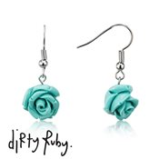 Dirty Ruby Turquoise Floral Frenzy Rose Drop Earrings