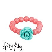 Dirty Ruby Mint Floral Frenzy Rose Ring