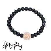 Dirty Ruby Peach Floral Frenzy Rose Bracelet