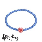 Dirty Ruby Pink Floral Frenzy Rose Bracelet