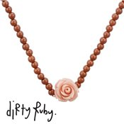 Dirty Ruby Pink Floral Frenzy Rose Necklace