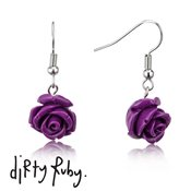 Dirty Ruby Purple Floral Frenzy Rose Drop Earrings