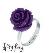 Dirty Ruby Purple Floral Frenzy Rose Ring