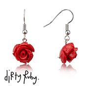 Dirty Ruby Red  Floral Frenzy Rose Drop Earrings