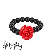 Dirty Ruby Red Floral Frenzy Rose Ring