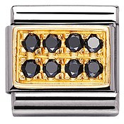 Nomination 18ct Gold and Black Cubic Zirconia Classic Charm