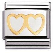 Nomination Charm White Double Heart