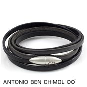 Antonio Ben Chimol Black And Brown Leather Bullet Bracelet