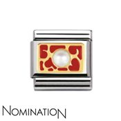 Nomination Interlocking Red Heart & Pearl Charm